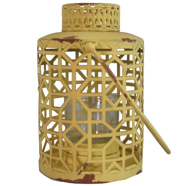 Yellow Metal Lantern by World Menagerie