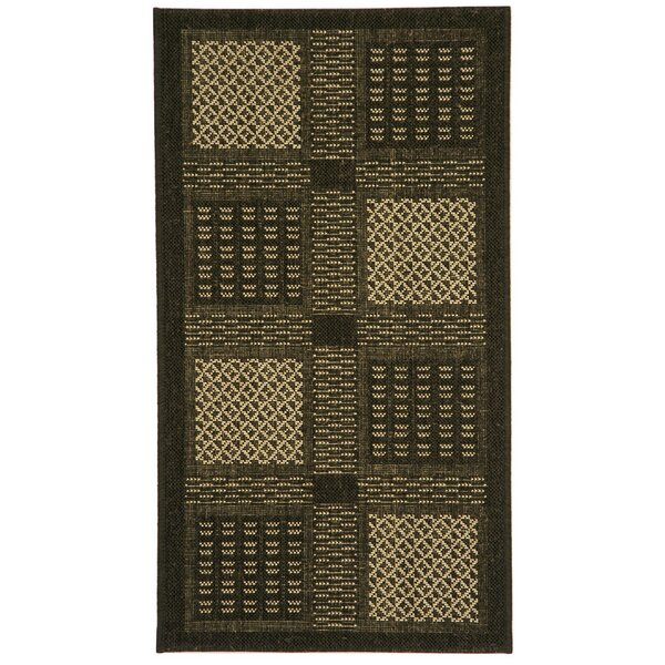 Halvorsen Black/Sand Indoor/Outdoor Area Rug by Charlton Home
