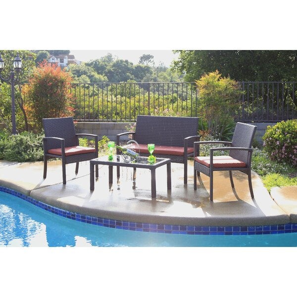 Zosia 4 Piece Rattan Sofa Seating Group with Cushions by Ivy Bronx