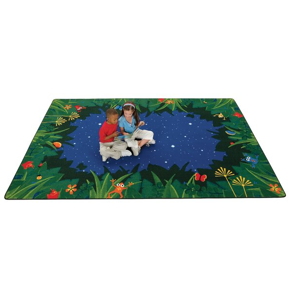 Emerado Peaceful Tropical Night Blue Area Rug by Zoomie Kids