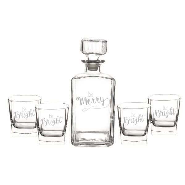 Be Merry Decanter 34 oz. Drinkware Set by Cathys Concepts