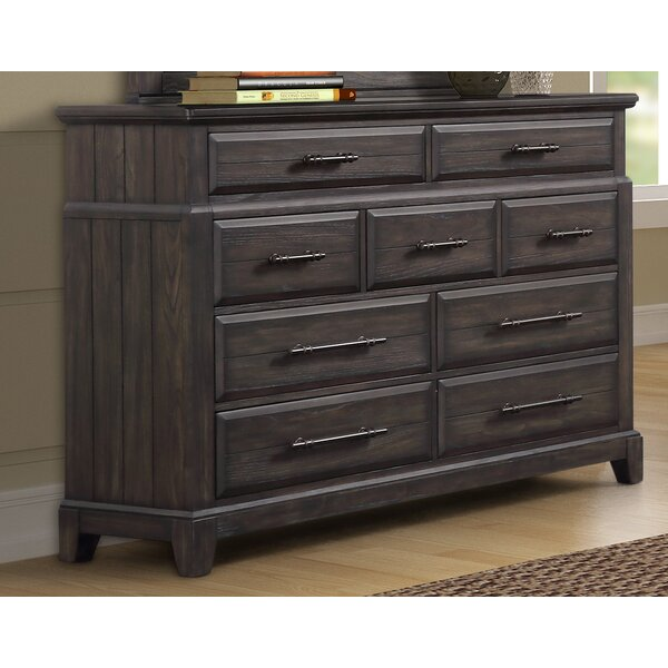 Kreutzer 9 Drawer Double Dresser with Mirror by Gracie Oaks