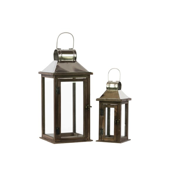 Wood Square Lantern with Chrome Silver Metal Top, Ring Hanger and Glass Windows Set of Two Stained Wood Finish by Urban Trends