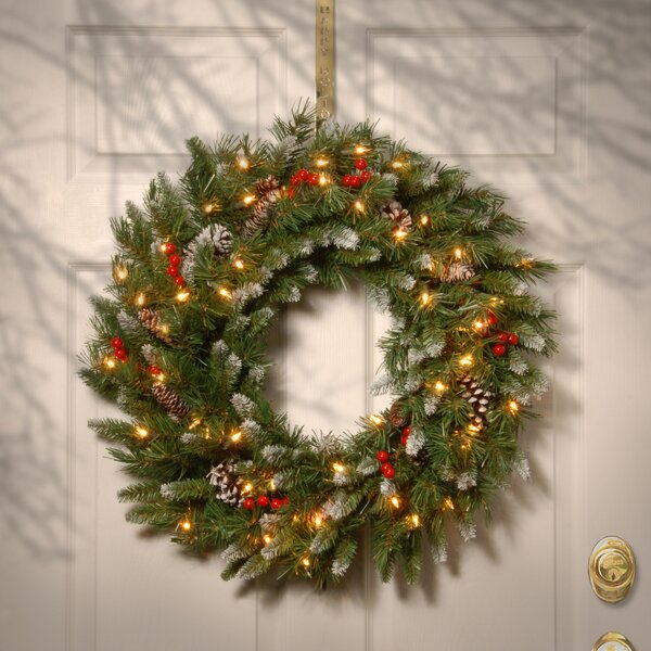 Brown/Green/Red Pre-Lit Wreath by Three Posts