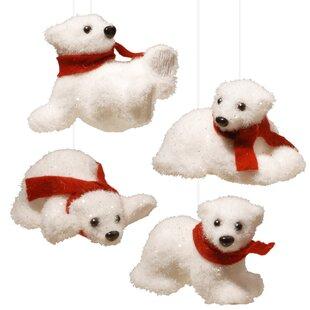 4 piece polar bear assortment ornament set - Pre Lit Polar Bear Christmas Decoration Set Of 3