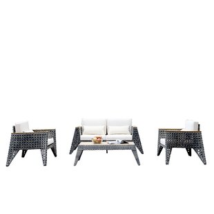 Gannon 4 Piece Rattan Sofa Set with Cushions by 17 Stories