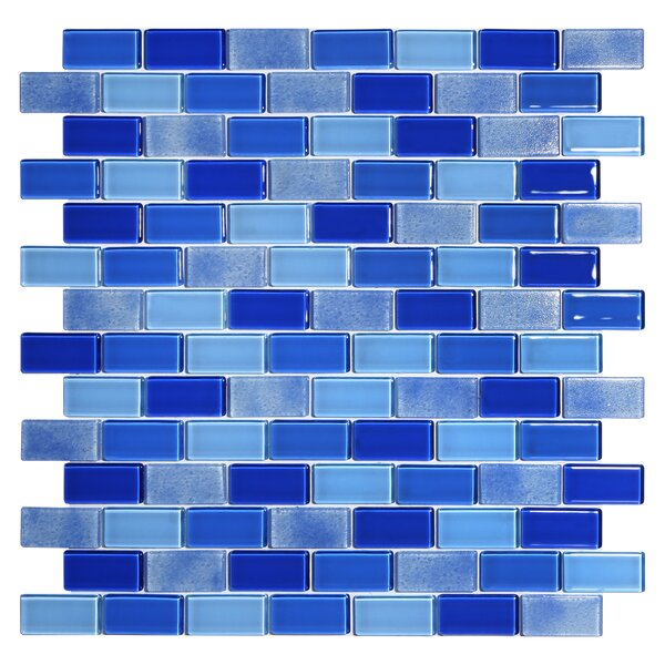 Tides 0.75 x 1.63 Glass Mosaic Tile in Cornflower by Kellani