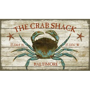 'Crab Shack' by Suzanne Nicholl Graphic Art Print on Wood by Red Horse Arts