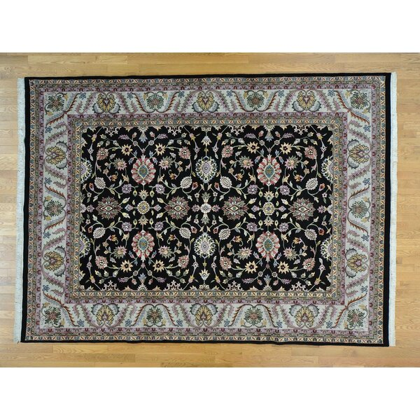 One-of-a-Kind Beason Hand-Knotted Black Wool Area Rug by Isabelline