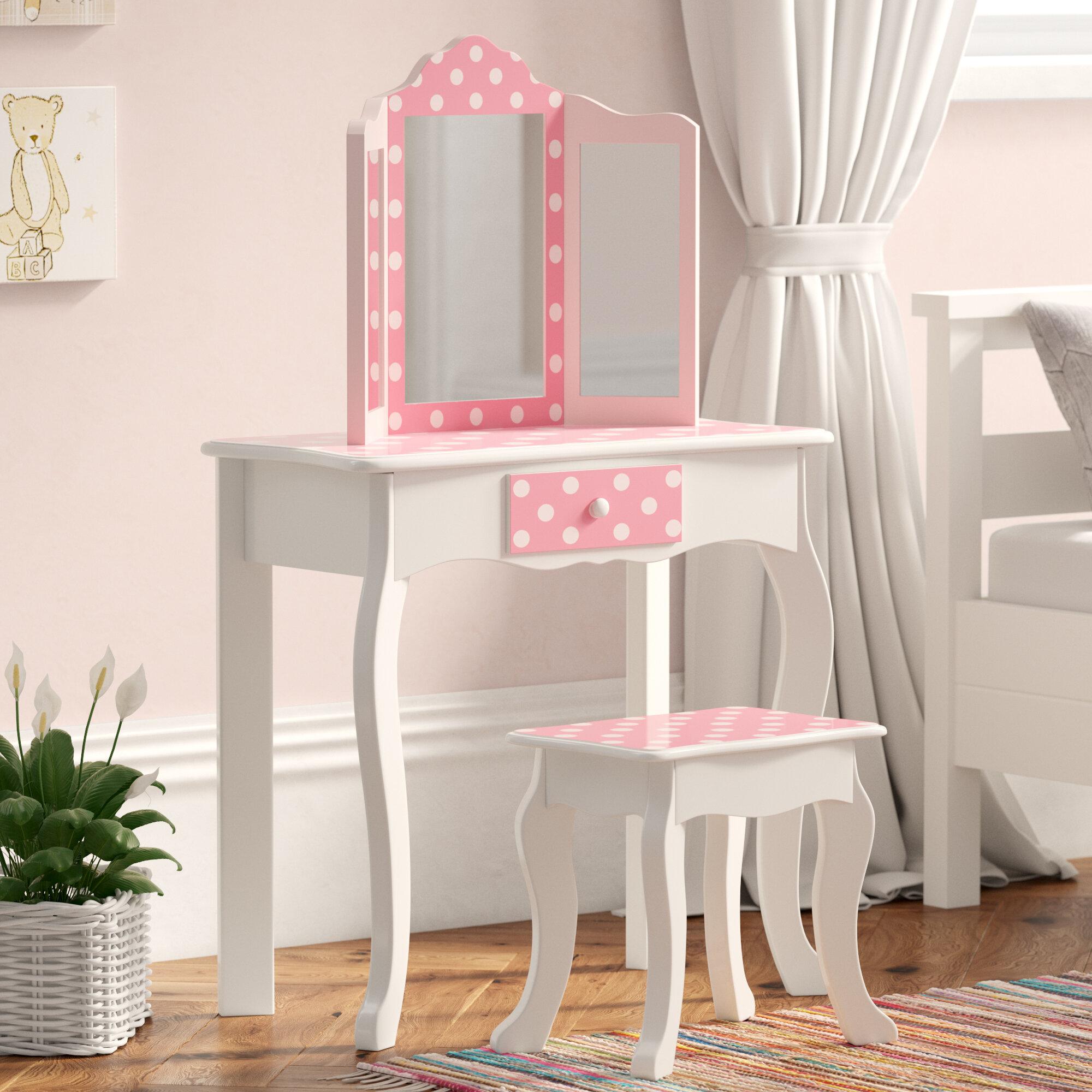 super popular a7d2d 20c30 Kadence Children's Wooden Vanity Dressing Table & Mirror Stool Set