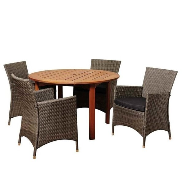 Edsel 5 Piece Dining Set with Cushion by Latitude Run