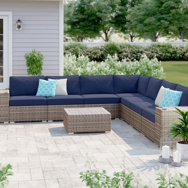 Harriette Resort Grade Cup Holder 10 Piece Rattan Sectional Seating Group with Sunbrella Cushions by Sol 72 Outdoor