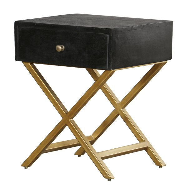 Erich Black & Brass Pedestal End Table With Storage By Mercer41