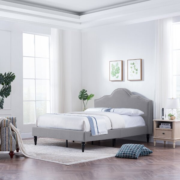 Best #1 Leverette Fabric Queen Upholstered Platform Bed By House Of Hampton Sale