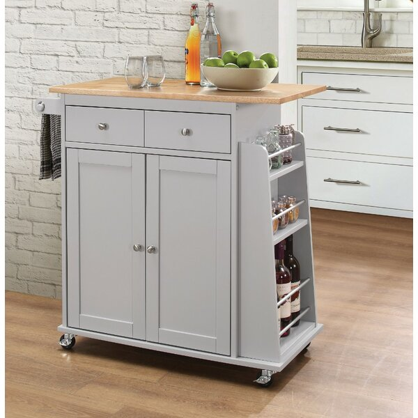 Rodolfo Kitchen Cart with Solid Wood Top by Charlton Home