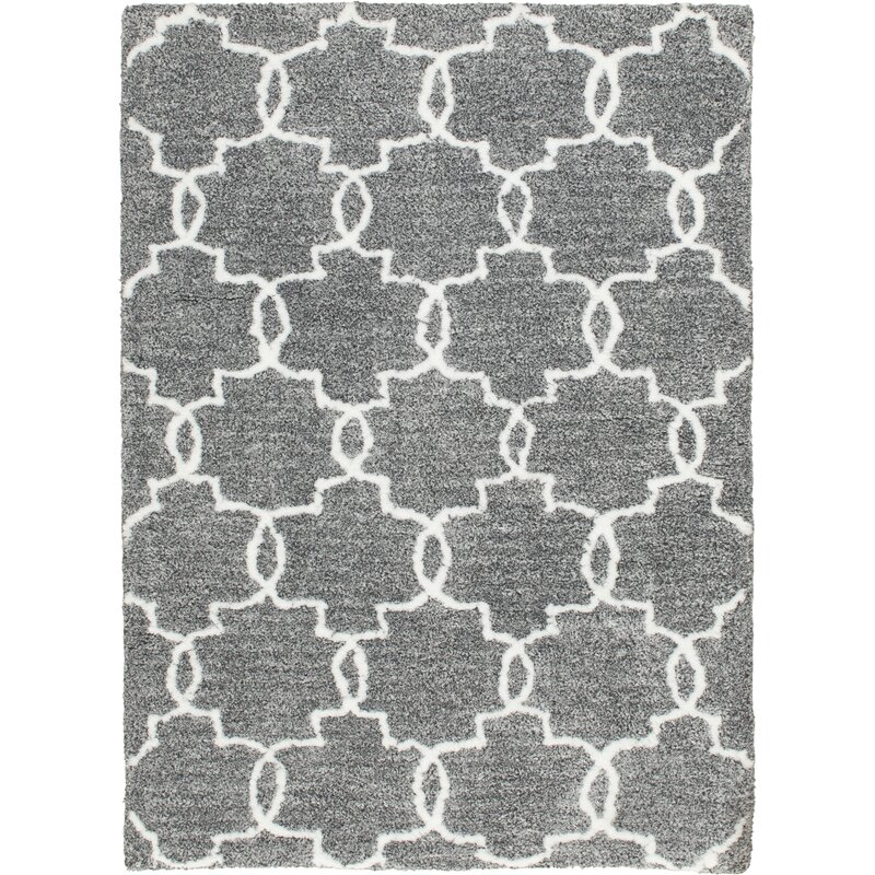 Handmade Shag Gray White Area Rug