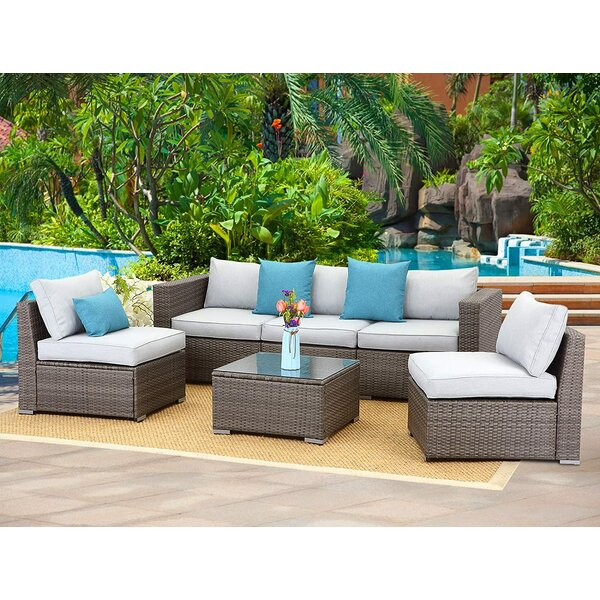 Adrita Outdoor 6 Piece Rattan Sofa Seating Group with Cushions by Latitude Run