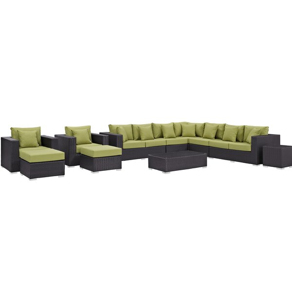 Brentwood 11 Piece Rattan Sectional Seating Group with Cushions by Sol 72 Outdoor Sol 72 Outdoor