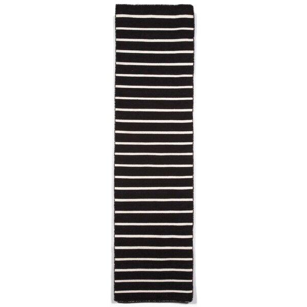 Ranier Pinstripe Hand-Woven Black Indoor/Outdoor Area Rug by Beachcrest Home