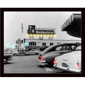 Retro Budweiser Lighted LED Poster Framed Photographic Print by Neonetics