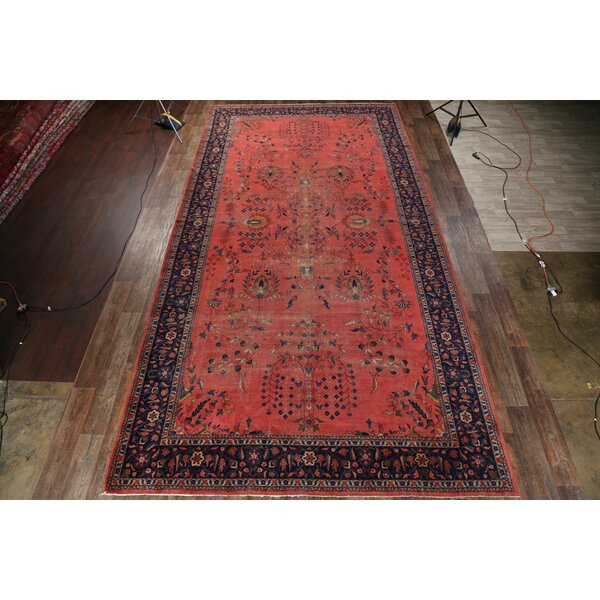 One-of-a-Kind Hinds Hand-Knotted Before 1900 Sarouk Red 10' x 19'6 Wool Area Rug