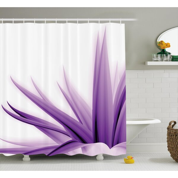 Krista Flower Purple Ombre Long Leaves Water Colored Print With Calming Details Image Shower Curtain by Ebern Designs