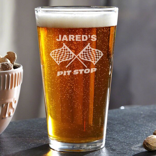 Pit Stop Personalized 16 oz. Glass Pint Glass by Home Wet Bar