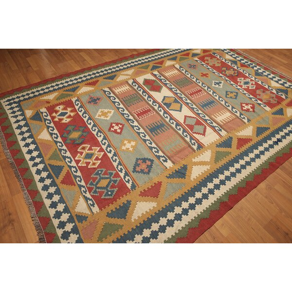 One-of-a-Kind Rickards Hand-Knotted Wool Rust/Blue Area Rug by Loon Peak