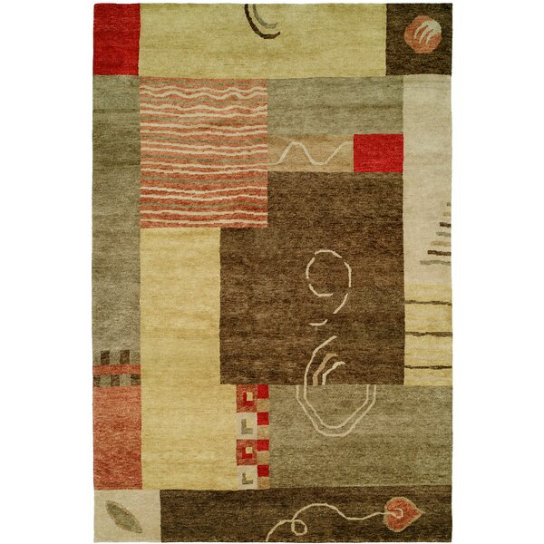 Lushunkou Hand-Knotted Ivory/Brown Area Rug by Wildon Home ®