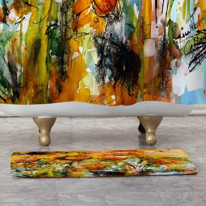 Abstract Sunflowers Bath Rug by East Urban Home