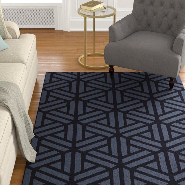 Peever Hand-Loomed Navy Area Rug by Charlton Home