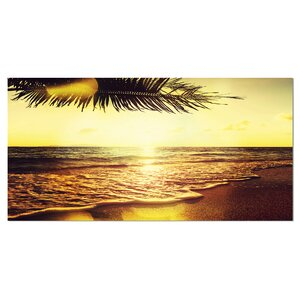 Clear Yellow Tropical Coastline Large Seashore Photographic Print on Wrapped Canvas by Design Art