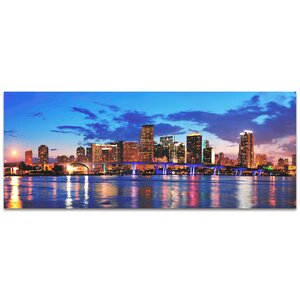 City Skyline 'Miami Modern Crowd Urban Cityscape Enhanced' Photographic Print by Metal Art Studio