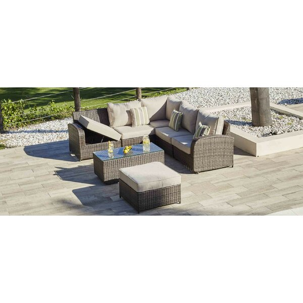 Meunier 7 Piece Rattan Sectional Seating Group with Cushions by Latitude Run
