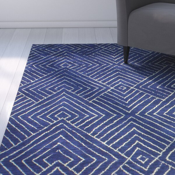 Utsey Hand-Tufted Navy Area Rug by Mercury Row