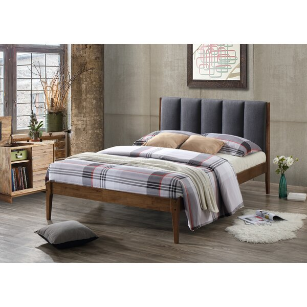Biggs Mid-Century Fabric and Wood Platform Bed by George Oliver