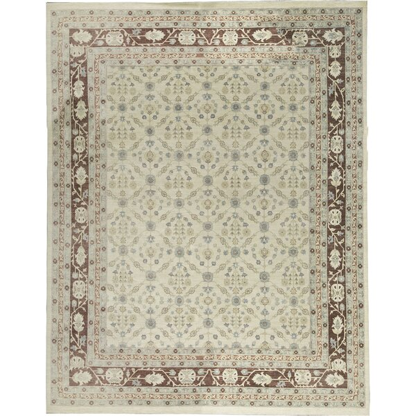 One-of-a-Kind Hand-Knotted Cream 12' x 15'1 Wool Area Rug