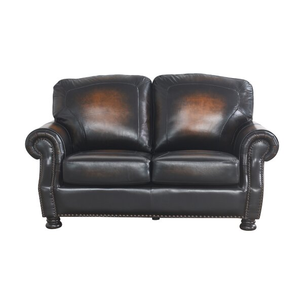 Top Reviews Damico Leather 65 Round Arms Loveseat by Darby Home Co