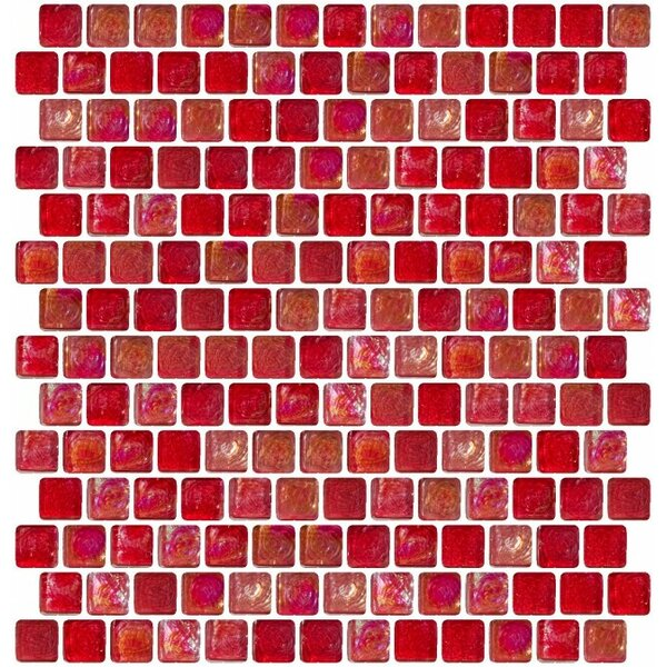 Iridescent Offset 0.75 x 0.75 Glass Mosaic Tile in Red by Susan Jablon