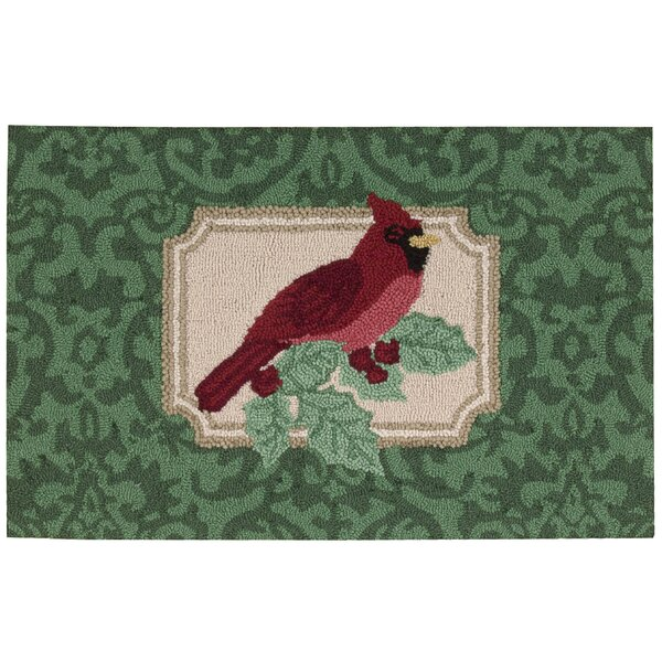 Christmas Hand Hooked Green Area Rug by Waverly