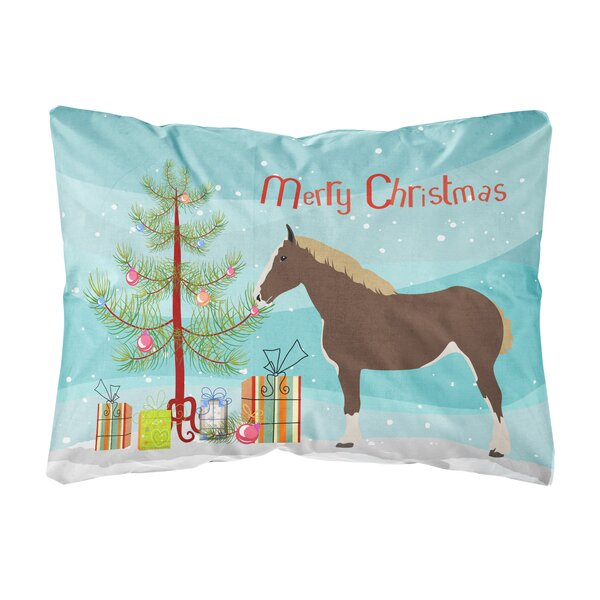 Howth Percheron Horse Christmas Indoor/Outdoor Throw Pillow by The Holiday Aisle