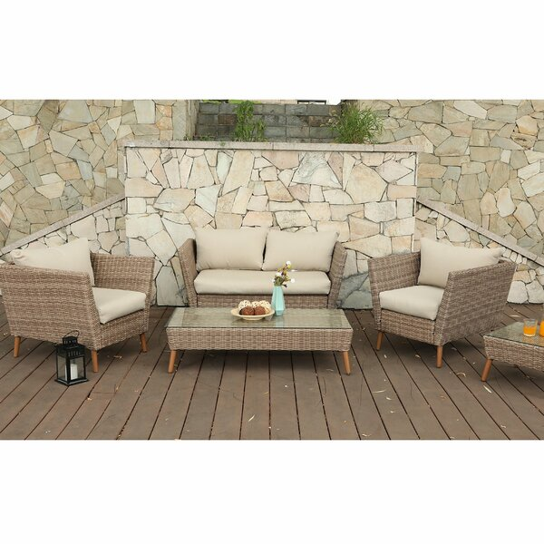 5 Piece Rattan Sofa Seating Group with Cushions