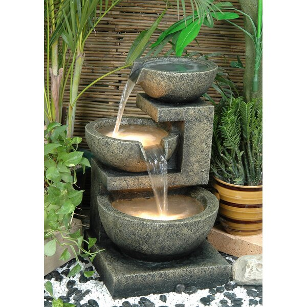 Fiber and Resin Bowl Fountain with Light by Hi-Line Gift Ltd.