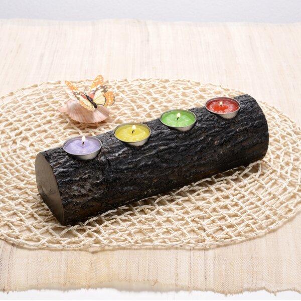 Decorative Fireplace Log Mango Wood Votive Holder by World Menagerie