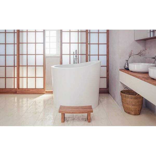 True Ofuro Mini 43.25 x 43 Freestanding Soaking Bathtub by Aquatica