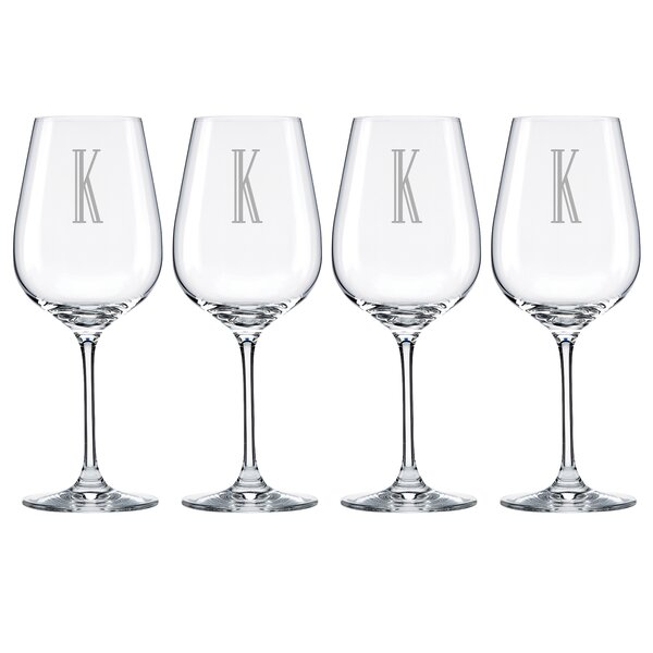 Charcoal Diamond Tuscany Monogram Pinot Grigio 16 Oz. White Wine Glass (Set of 4) by Lenox