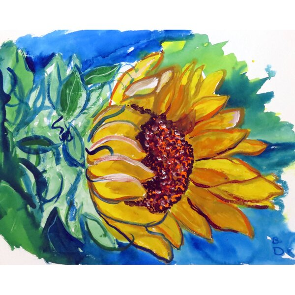 Windy Sunflower Wall Hanging by Betsy Drake Interiors