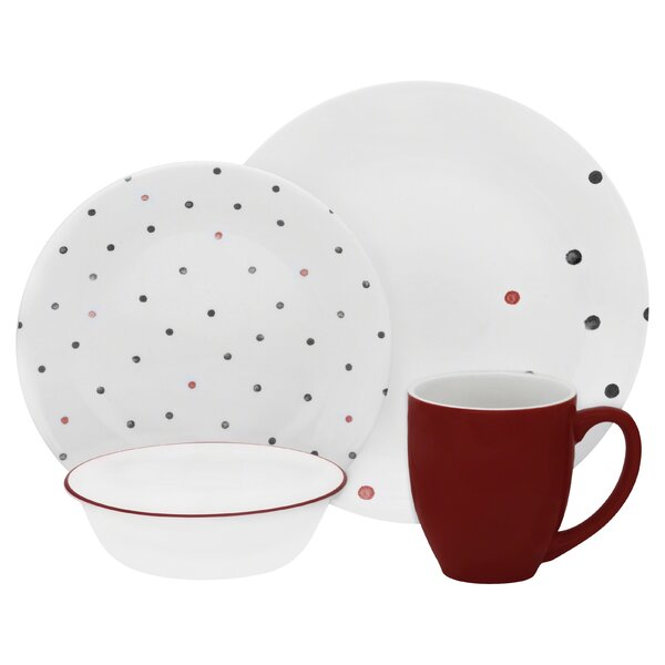 Vive Polka Dottie 16 Piece Dinnerware Set, Service for 4 by Corelle