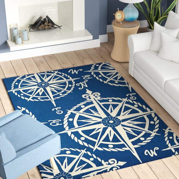 Beaufort Hand-Hooked Navy/Beige Indoor/Outdoor Area Rug by Breakwater Bay