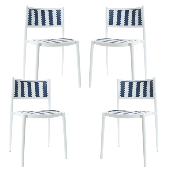 Figueiredo Stacking Patio Dining Chair (Set of 4) by Breakwater Bay Breakwater Bay